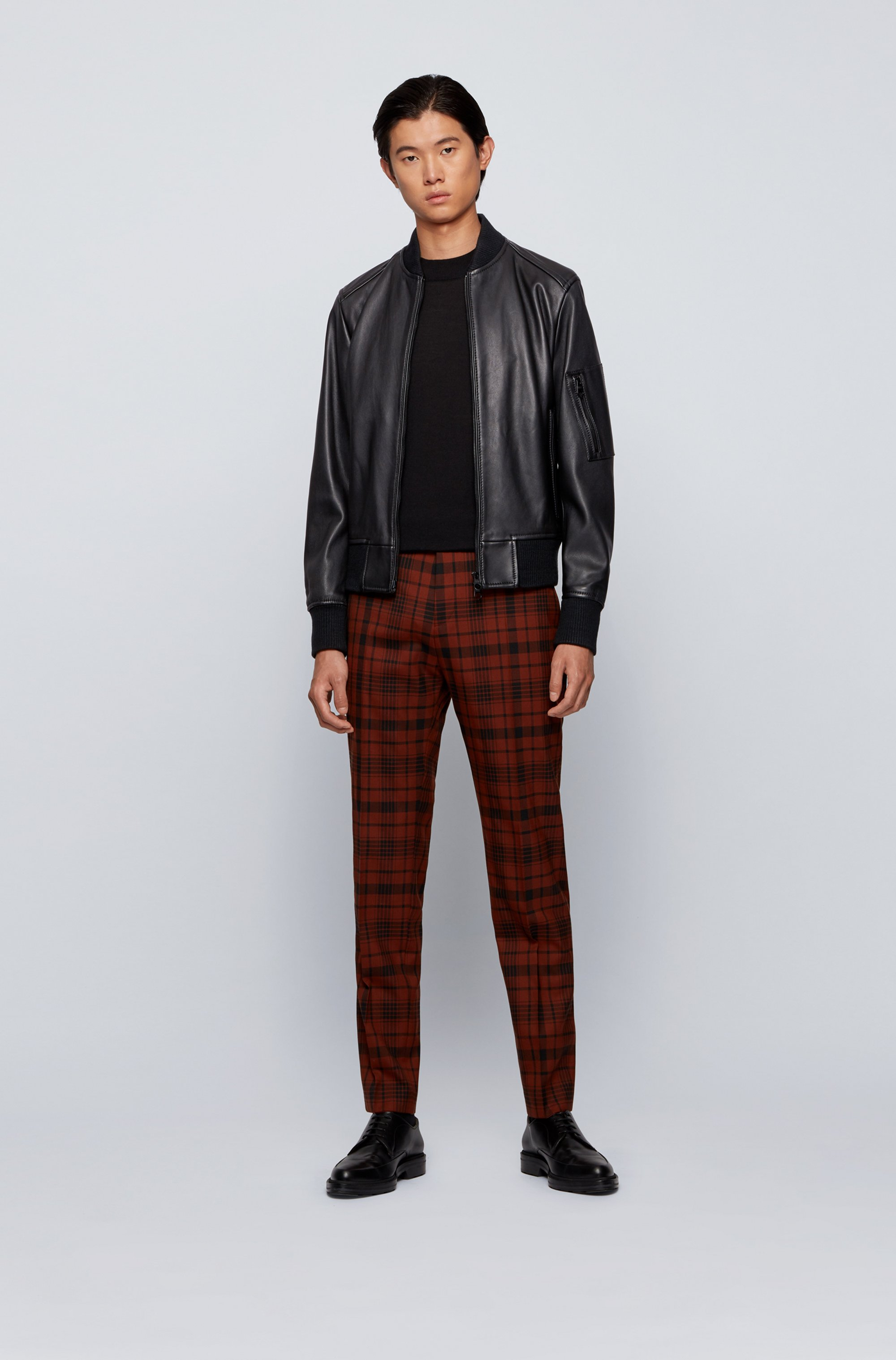 Bomber-style jacket in nappa leather with two-way zip