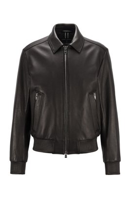 Regular-fit nappa-leather jacket with wing collar, Black