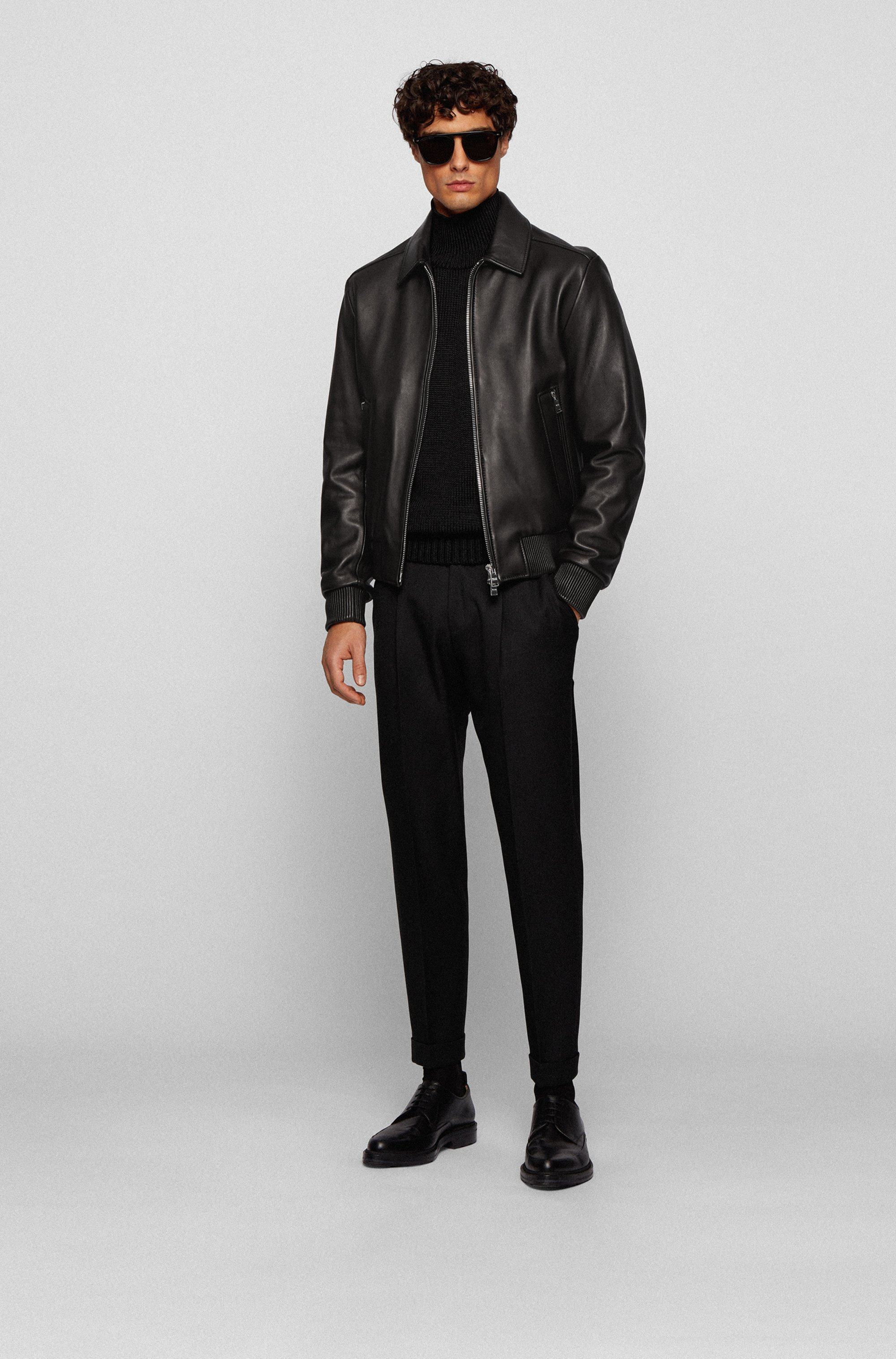 Regular-fit nappa-leather jacket with wing collar