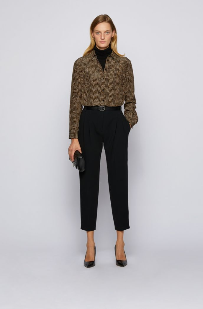 Regular-fit herringbone-print blouse in silk