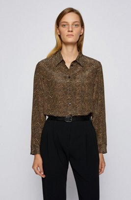 Regular-fit herringbone-print blouse in silk, Patterned