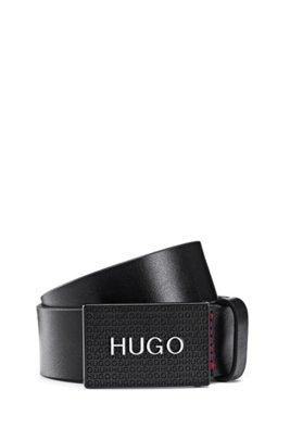 Italian-leather belt with logo-plaque closure, Black