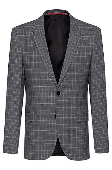 图案装饰面料修身西服夹克,  047_银灰色
