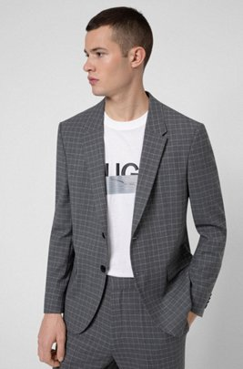 Slim-fit jacket in bi-stretch patterned fabric, Silver