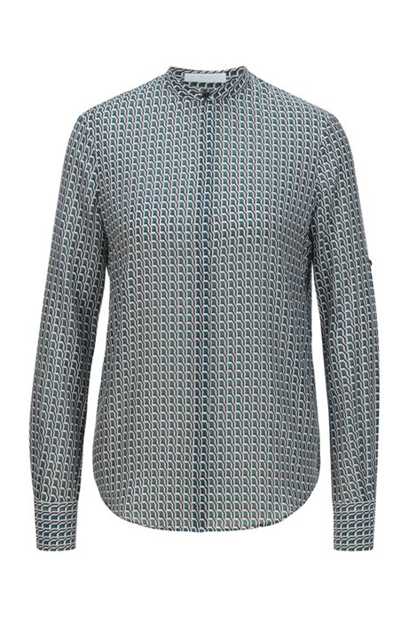 Relaxed-fit printed blouse in cotton and silk, Patterned