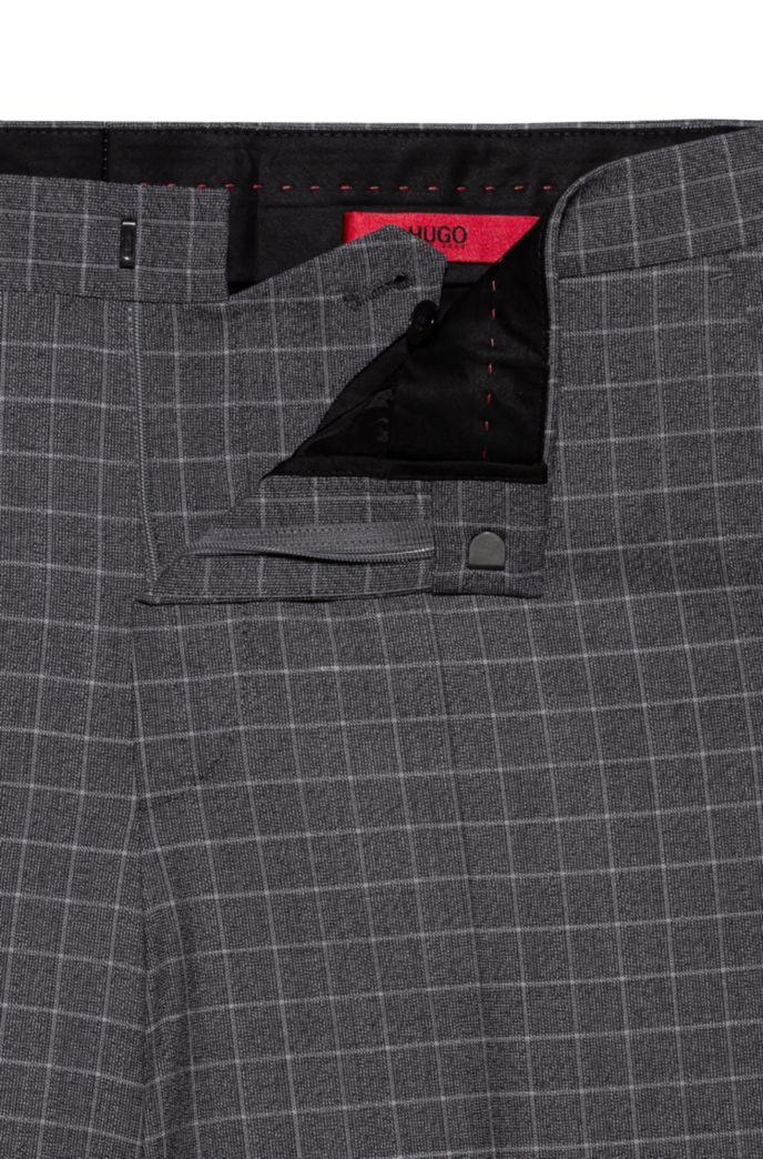 Slim-fit broek van materiaal met tweezijdige stretch en dessin
