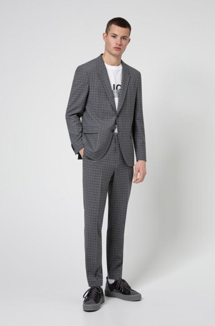 Slim-fit trousers in bi-stretch patterned fabric