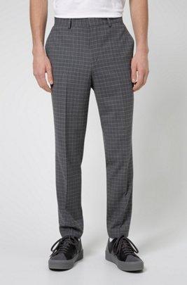 Slim-fit trousers in bi-stretch patterned fabric, Silver