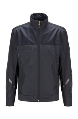 Regular-fit water-repellent jacket in recycled fabric, Black