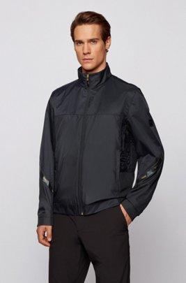 Veste Regular Fit en tissu recyclé déperlant, Noir
