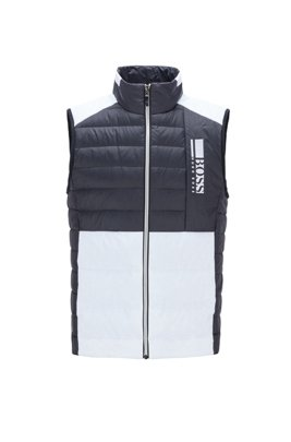 Colour-block down gilet in water-repellent fabric, Black