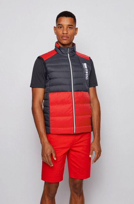 Colour-block down gilet in water-repellent fabric, Red