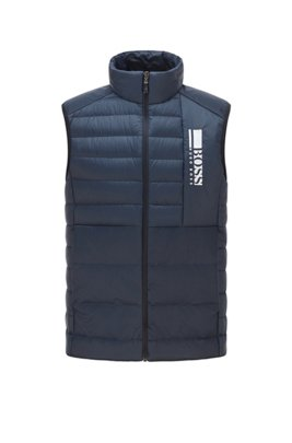 Colour-block down gilet in water-repellent fabric, Dark Blue