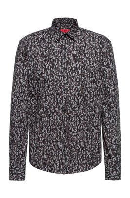 Cotton slim-fit shirt with collection print, Grey Patterned