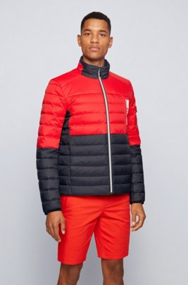 Lightweight down jacket with water-repellent finish, Red
