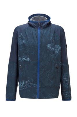 Giubbotto ripiegabile in tessuto idrorepellente con stampa di ispirazione botanica, Blu a motivi