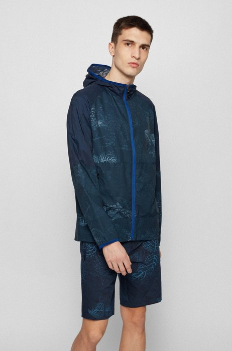 Packable jacket in water-repellent fabric with botanical print, Blue Patterned