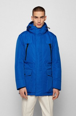 Regular-fit down-filled parka in water-repellent fabric, Blue