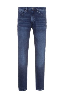 Regular-fit jeans in stretch denim with used effects, Blue