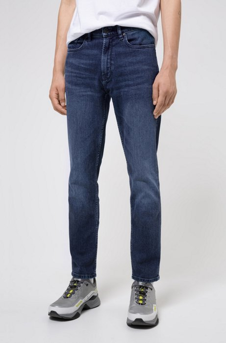 Regular-Fit Jeans aus Stretch-Denim im Used-Look, Blau