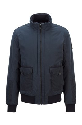 Regular-fit padded jacket in overdyed cotton twill, Dark Blue