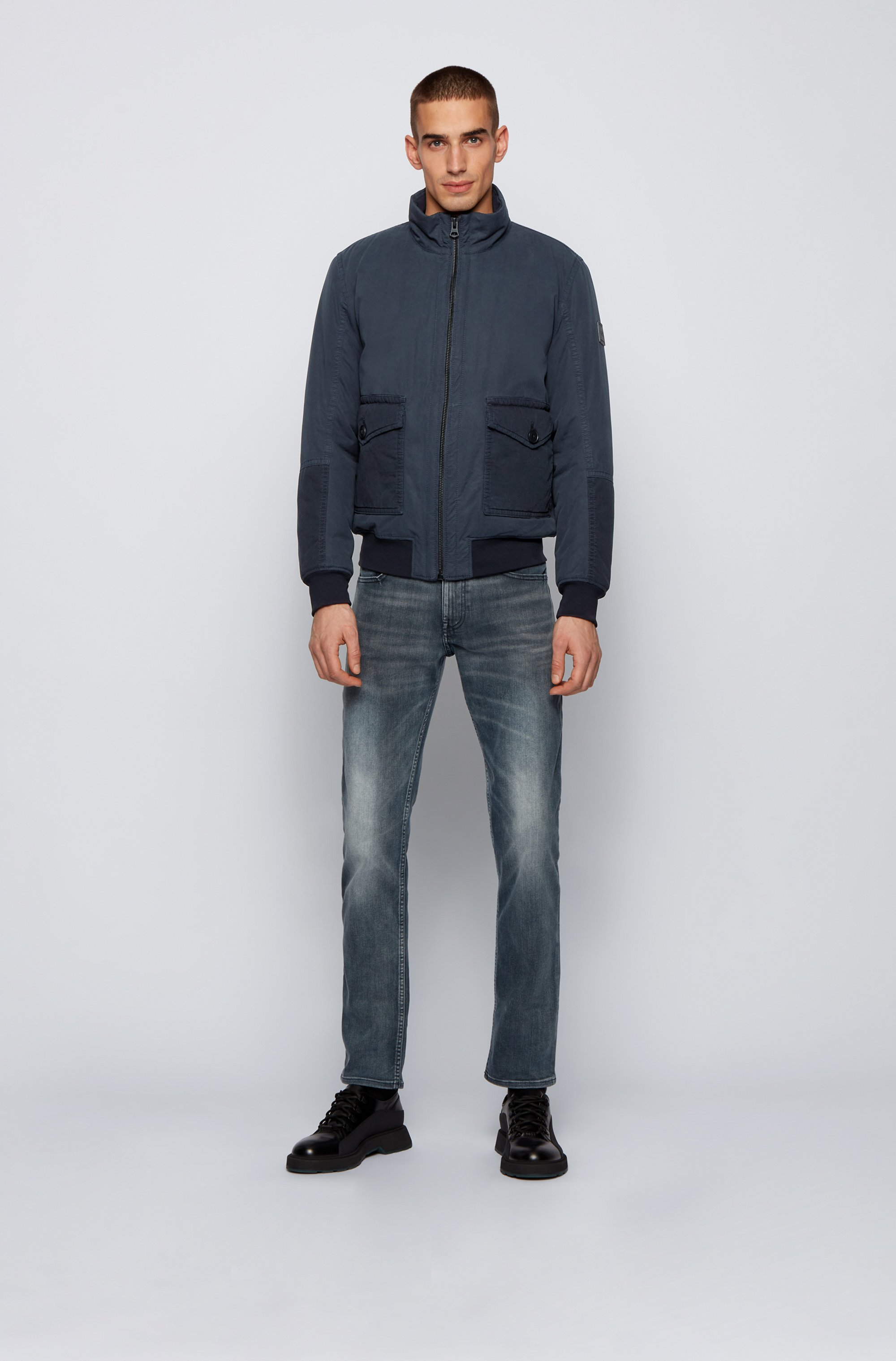 Regular-fit padded jacket in overdyed cotton twill