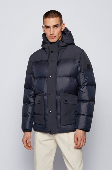 Hooded down jacket in water-repellent mixed fabrics, Dark Blue