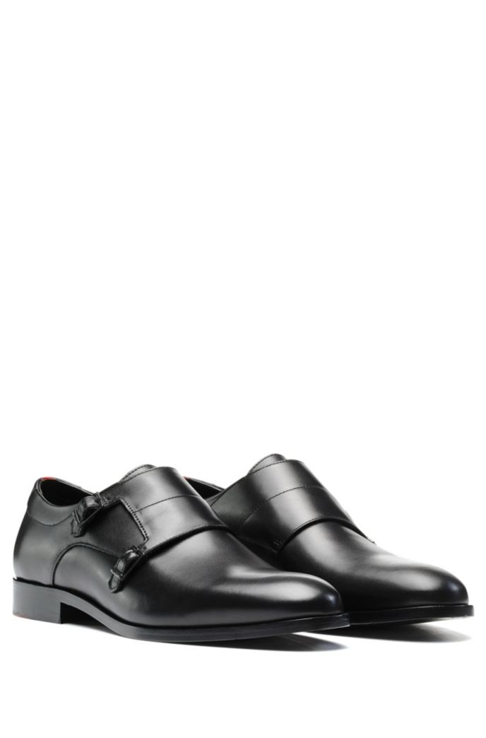 Double-strap monk shoes in polished leather