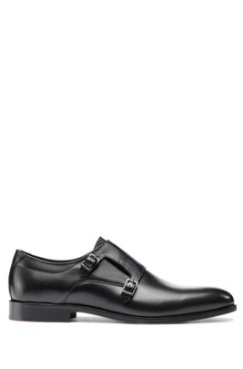 Double-strap monk shoes in polished leather, Black