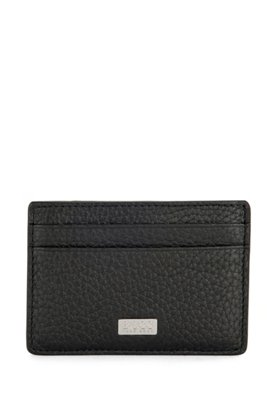 Italian-leather card holder with money clip, Black