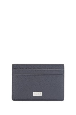 Italian-leather card holder with money clip, Dark Blue