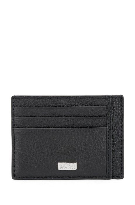 Card holder in Italian leather with engraved-logo plate, Black