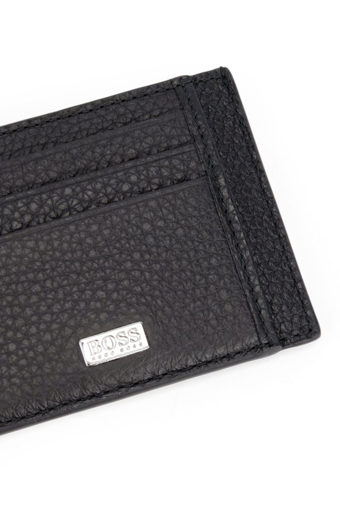 Card holder in grained Italian leather