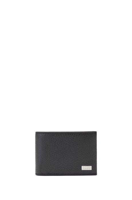 二つ折りウォレット グレインレザー インナーカードフラップ, ブラック
