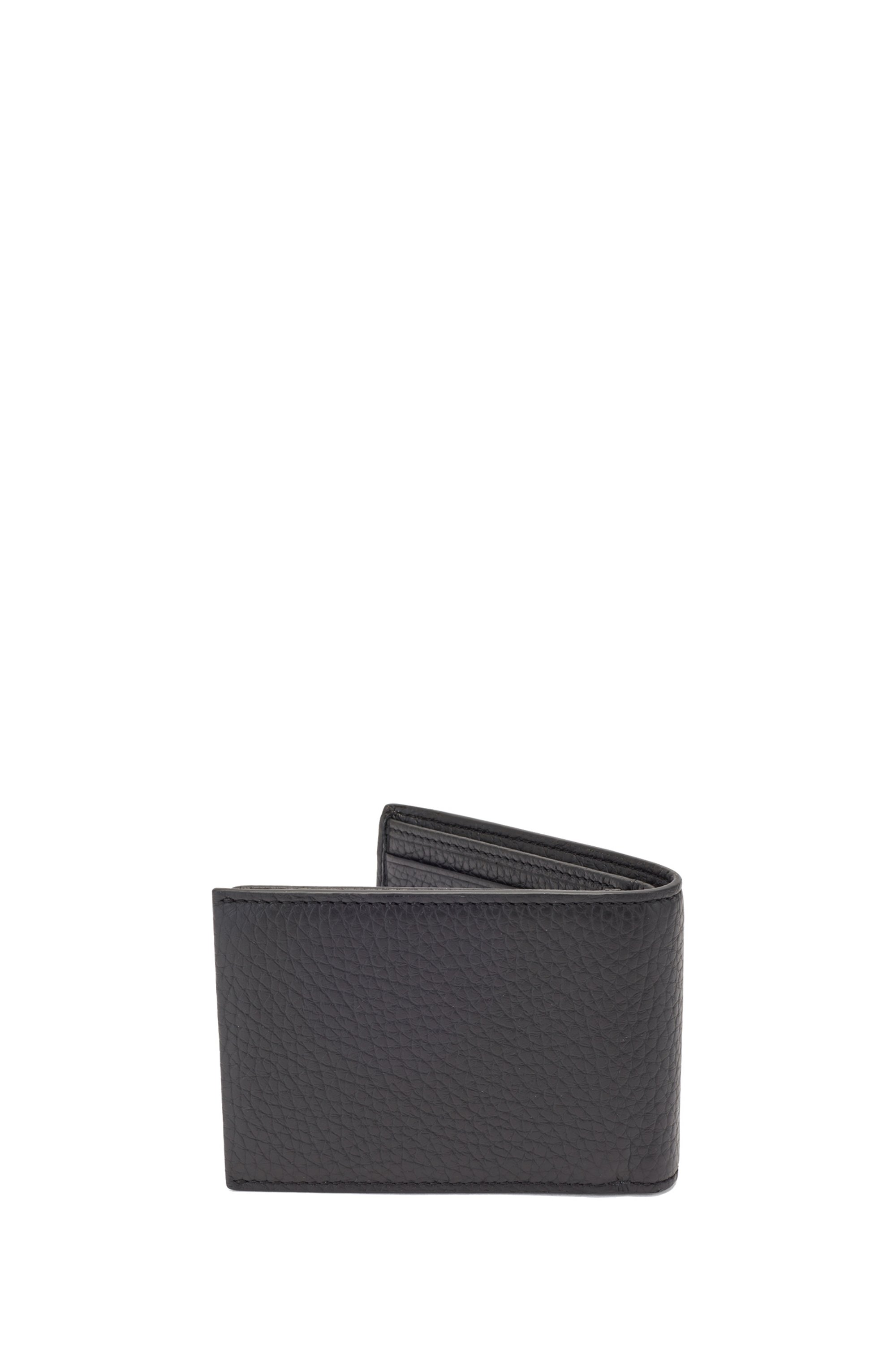 Grained-leather billfold wallet with inner card flap
