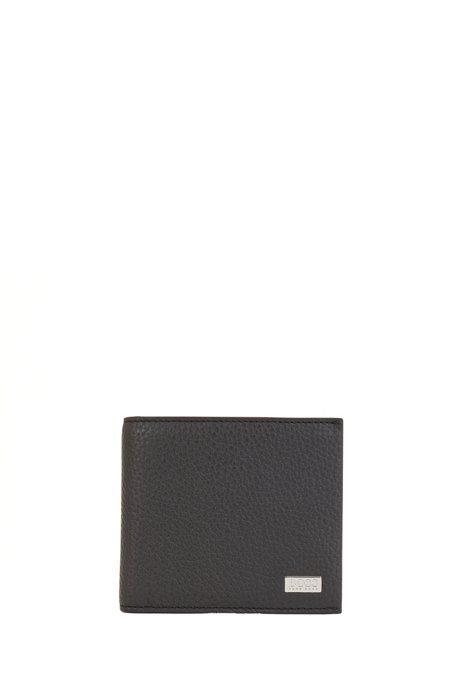 イタリアングレインレザー ウォレット コインポケット, ブラック