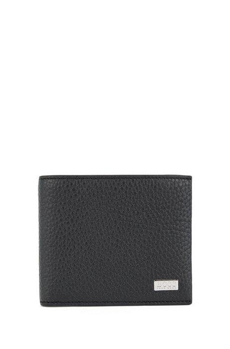 Billfold wallet in grained Italian leather, Black