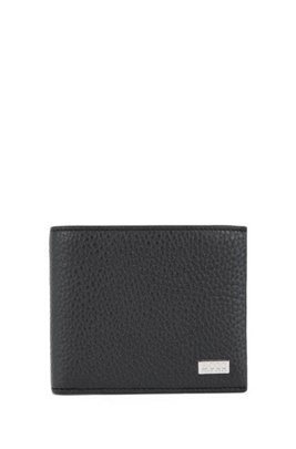 Billfold wallet in grained Italian leather, Black