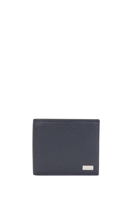 Billfold wallet in grained Italian leather, Dark Blue