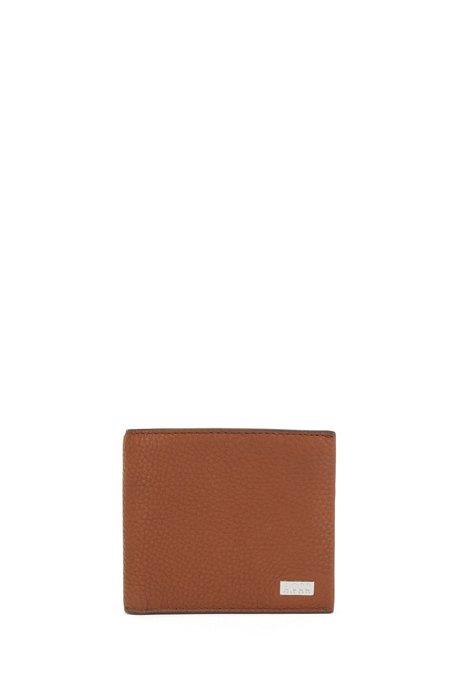 Portefeuille à deux volets en cuir italien grainé, avec plaquette logo, Brun chiné