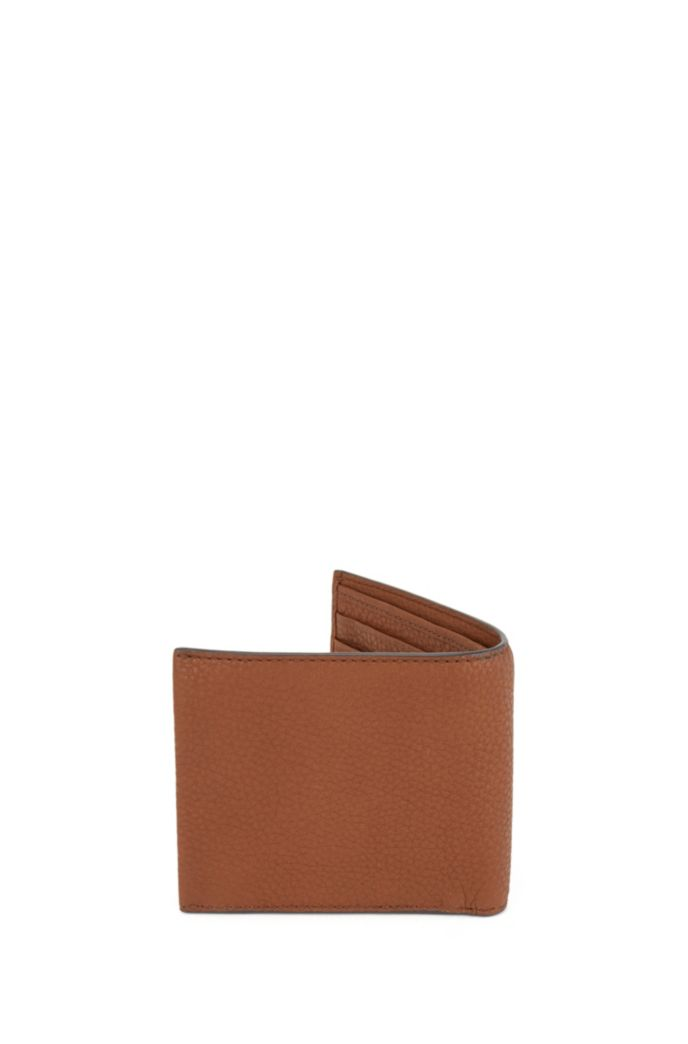Billfold wallet in grainy Italian leather with logo plate