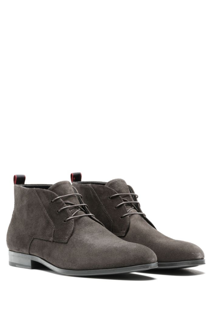 Lace-up desert boots in suede
