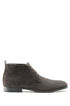 Lace-up desert boots in suede, Dark Grey