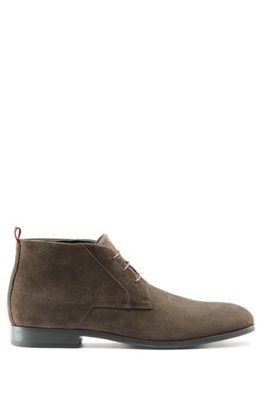 Lace-up desert boots in suede, Dark Brown