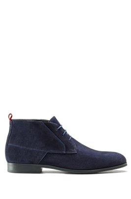 Lace-up desert boots in suede, Dark Blue