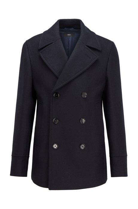Zweireihiger Slim-Fit Mantel aus Woll-Mix, Dunkelblau