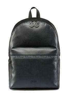 Sac à dos en similicuir orné du logo HUGO 93 de la saison, Noir