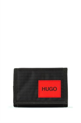 Ripstop-nylon trifold wallet with logo badge, Black
