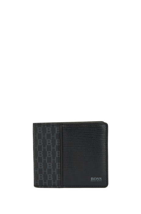 Monogram wallet in coated Italian fabric with leather trims, Black