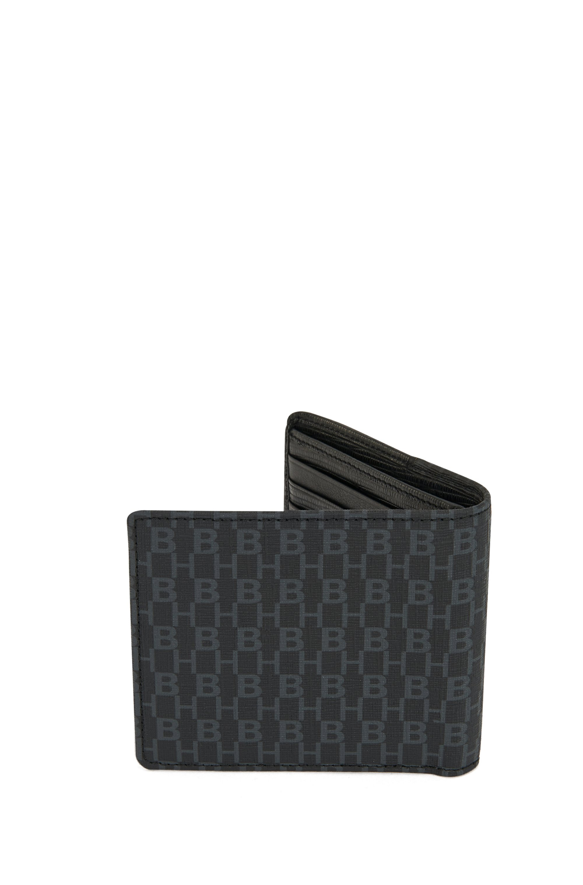 Monogram wallet in coated Italian fabric with leather trims